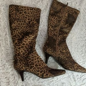 Impo stretch tall animal print boots size 9